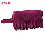 Makeup Storage Cosmetic Bag / Makeup Storage PU Tassel Ellipse 20*10*12cm Black / Brown / Blue / Red