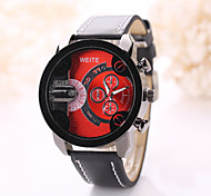Men's Black/White/Red/Blue Case Black Leather Band Sports Style Watch Jewelry Cool Watch Unique Watch