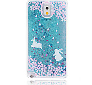 Sakura Rabbit Painted Quicksand PC Phone Case For Samsung Galaxy Note3/Note4/Note5 + A Touch Screen Pen