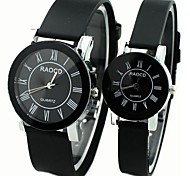 Black rubber band Roman scale couple watches (men and women each one)