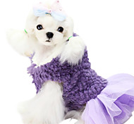 Dog Dress Dog Clothes Winter Solid Fashion Purple Red