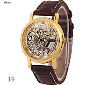 Herren Modeuhr Quartz Transparentes Ziffernblatt Leder Band Armbanduhr Schwarz / Braun