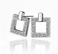 Luxury Drop Earrings for Women Clean Crystal Square Earrings Fashion Jewelry Accessories Silver Plated