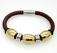 Fashion Charm Stainless Steel Oval Beads Leather Bracelets 1pc