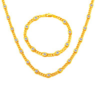 Special Crystal Design 18K Stamp Gold Plated Necklace&Bracelets Fashion Chain Stainless Christmas Wholesale NB60069