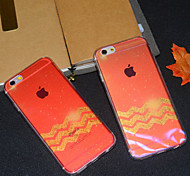 Wave Maple Leaf Red Semitransparent Glitter Soft Back Case Cover for iPhone 6s Plus /iPhone 6 Plus