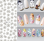 Big Page Water Transfer Printing Black Sketch Petal Flower Nail Stickers