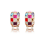 Luxury Austria Crystal Stud Earrings for Women Queen Earrings Fashion Jewelry Accessories Silver Plated