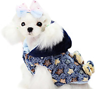 Dog Coat Blue / Yellow Winter Stars Fashion