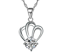 Lureme® Korean Fashion  Crystal 925  Sterling Silver  Crown Pendant Necklace
