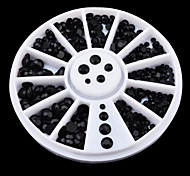 New Mix-sizes Black 3d Nail Rhinestone Pearls Art Flatback Nail Tips Sticker Decoration Wheel