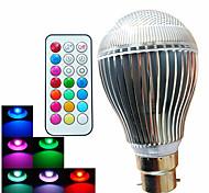 9W B22 Круглые LED лампы A60(A19) 3 Высокомощный LED 500 lm RGB Регулируемая / На пульте управления / Декоративная AC 100-240 V 1 шт.