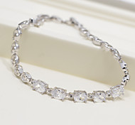 Elegant Silver AAA Zircon Platinum Plated Titanium Steel Bracelet for Women Gift,Fine JewelryImitation Diamond Birthstone
