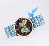2016 New Arrival Leisure Fashionable Lady's Wristwatches The Fabric Strap  with Rhinestone Design