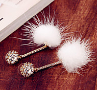 Korean version of the plush tassel earrings diamond earrings alloy earrings