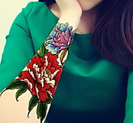 Red Peony Heart  Waterproof Flower Arm Temporary Tattoos Stickers Non Toxic Glitter