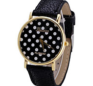 Geneva Women Watch Analog with Elegant Dots Design Round Dial Leather Watch Band Cool Watches Unique Watches
