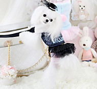 Dog Dress Black White Dog Clothes Winter Spring/Fall Lace Fashion