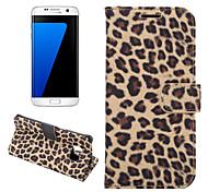pu portefeuille en cuir cas de téléphone grain de léopard de luxe bord s7 / samsung galaxy (couleurs assorties)