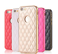 Metal Case 2 In 1 Style Fashion Grid Skins Aluminum Frame Leather Case For iPhone 6 Plus/6S Plus