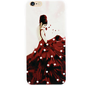 Red skirts woman diamond phone shell painted reliefs for iPhone6/6s