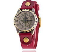Xu™ Women's Vintage Leather Star Quartz Watch Strap Watch