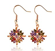 Allergy Free Silver Plated Women Drop Earrings European Style Luxury Zircon Insert Multicolor Flower Earrings