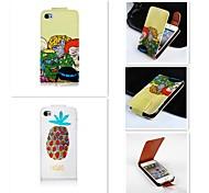 comic patten de cima para baixo turn over de couro pu caso de corpo inteiro para o iPhone 5 / 5s