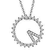 Lureme®  Korean Fashion 925 Sterling Silver Crystal  Clock Pendant Necklace
