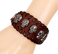 Fashion Men's Skull Rivets Wide Leather Bracelets