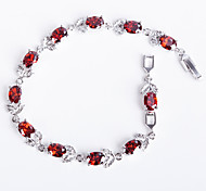 Elegant Red Colorful AAA Zircon Platinum Plated Titanium Steel Bracelet for Women Gift,Fine JewelryImitation Diamond Birthstone