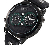 NORTH Dual Time Display Male Sport Watches Genuine Leather Water Resistant Fashion Casual Men Sport Wristwatch