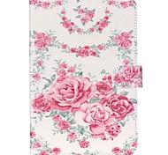 roses en cuir folio cas de couverture de stand avec support pour Samsung Galaxy Tab un t350 8,0