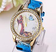 Montre dames motif talons papillon de diamants de la mode européenne et américaine montre pu ceinture de quartz