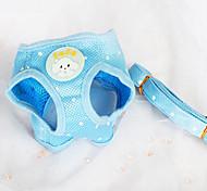 Dog Harness / Leash Adjustable/Retractable / Polka dots / Breathable Blue Textile