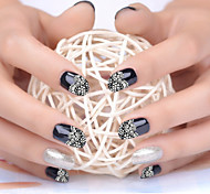 3D Nail Art Lace nail Stickers Decals multicolor Transfers White Silver Flowers Rhinestone Nails sticker