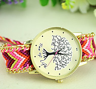 Women's New Fashion Ethnic Style Weaving Exquisite Handmade Tree of Life Bracelet Watch
