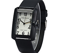 Leather Band Unisex Quartz Watch with Rectangle Dial - BLACK Cool Watches Unique Watches