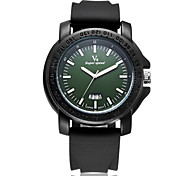 Men's Fashion Date  Analog Display Rubber Band Quartz Watch