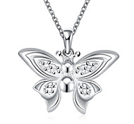 Classic Fashion Butterfly Pendant Necklace Women's Silver Plated Necklace with Chain(Color:Silver)