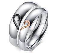 Жен. Кольца для пар Классические кольца Любовь Камни по месяцу рождения Циркон Титановая сталь Позолота В форме сердца Бижутерия