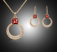 Lucky Doll Women's Vintage Rose Gold Plated Crystal Rhinestone Necklace & Earrings Jewelry Sets