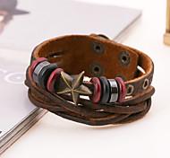 Fashion Bronze Star Rivets Leather Bracelets