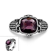 Classical Honorable Generous Men's Purple Glass Stainless Steel Ring(Black)(1Pc)