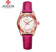 JULIUS Fashion Women Watch Genuine Leather Band Diamond Case Casual Dress Wristwatch JA-723