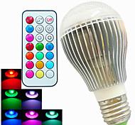 Bombillas LED de Globo Regulable / Control Remoto / Decorativa SchöneColors A60(A19) E26/E27 9W 3 LED de Alta Potencia 500 LM RGBAC