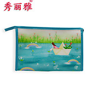 Makeup Storage Cosmetic Bag / Makeup Storage PU Cartoon Quadrate 23x7x15cm Blue / Green / Red