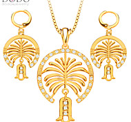 Chain link Necklace earrings Fashion Women Drop Earring 18K Gold Plated Vintage Bridal Jewelry Sets gift S20139