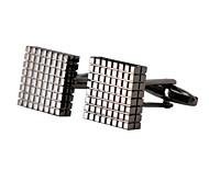 Jewelry Brass Material, Black Cufflinks Lattice Grid Pattern