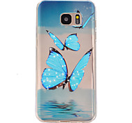 blauwe vlinder patroon TPU hulp Cover Case voor Galaxy S7 / galaxy S7 edge / galaxy s7 rand plus